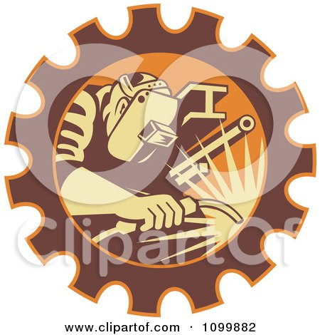 Clipart Retro Fabricator Welder Working In A Gear Cog - Royalty Free Vector Illustration by patrimonio