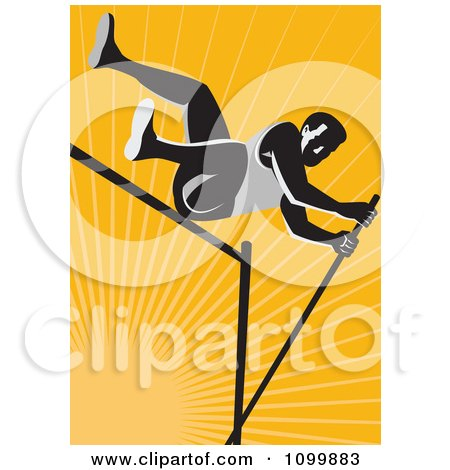 Clipart Retro Pole Vault High Jump Athlete Over Orange Rays - Royalty Free Vector Illustration by patrimonio