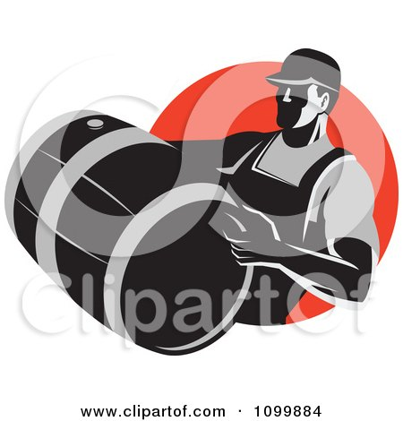 Clipart Retro Wine Maker Vitner Carrying A Barrel Over A Red Circle - Royalty Free Vector Illustration by patrimonio