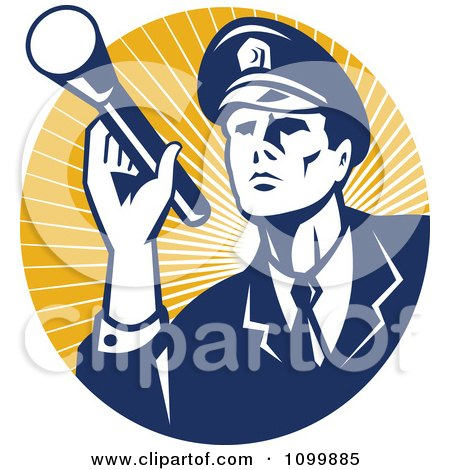 Clipart Retro Police Officer Or Security Guard Shining A Flashlight Over A Circle Of Orange Rays - Royalty Free Vector Illustration by patrimonio