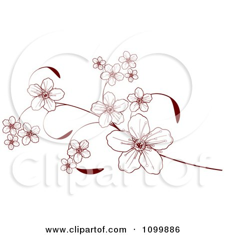Clipart Pink Cherry Blossoms On A Branch Over Grunge - Royalty ...