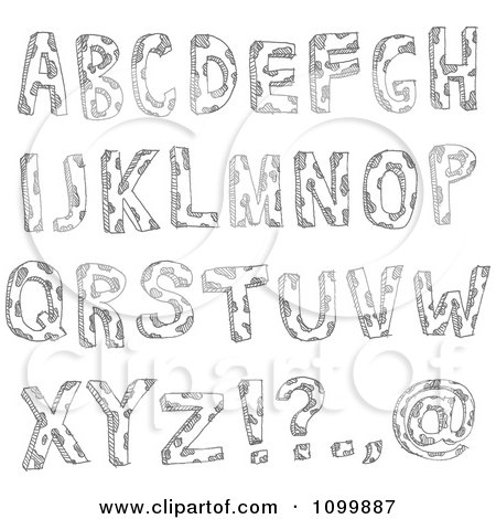 Clipart Black And White Sketched Capital Letters With Spots And Punctuation - Royalty Free Vector Illustration by yayayoyo