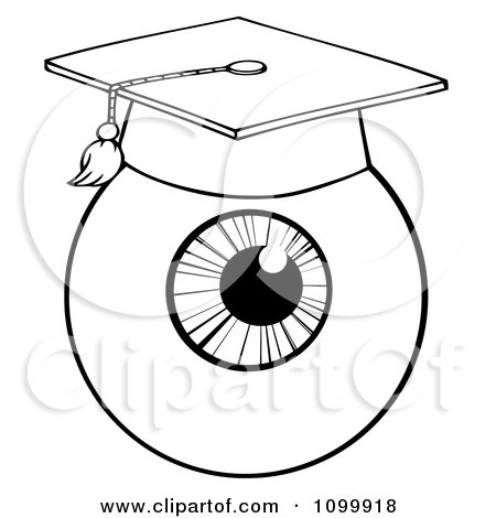 Clipart Black And White Eyeball Wearing A Graduation Cap - Royalty Free Vector Illustration by Hit Toon