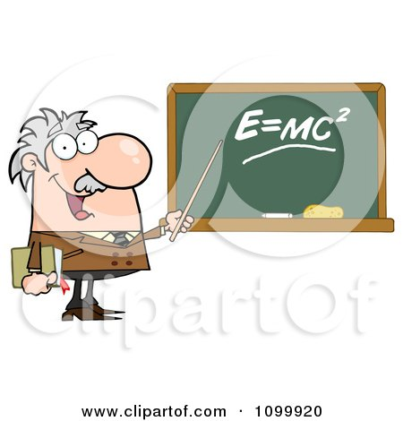 Clipart Happy Caucasian Science Professor Discussing Mass Energy Equivalence Physics - Royalty Free Vector Illustration by Hit Toon