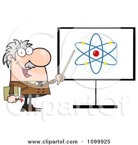 Clipart Happy Caucasian Professor Discussing An Atom Diagram - Royalty Free Vector Illustration by Hit Toon