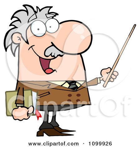 Clipart Happy Caucasian Professor Using A Pointer Stick - Royalty Free Vector Illustration by Hit Toon