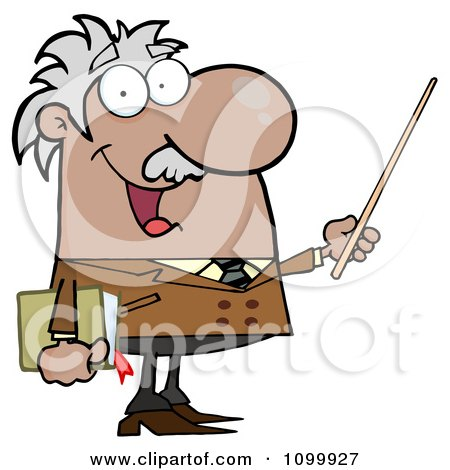 Clipart Happy Black Or Hispanic Professor Using A Pointer Stick - Royalty Free Vector Illustration by Hit Toon