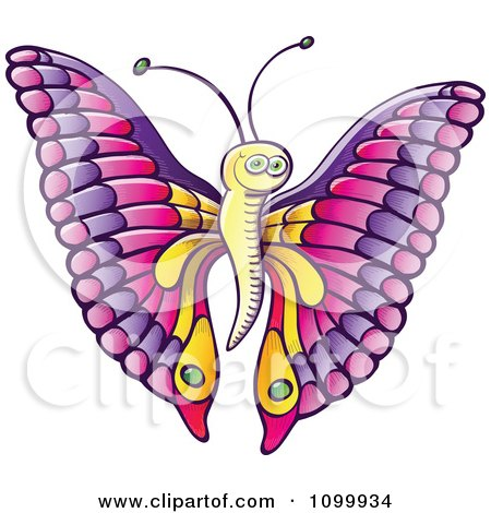 Clipart Happy Butterfly With Pink And Purple Wings And A Yellow Body - Royalty Free Vector Illustration by Zooco