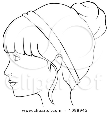 clipart outlined profiled woman with a head band and her