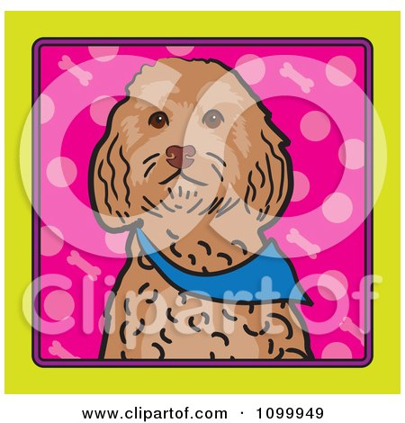 Clipart Folk Art Styled Cockapoo Dog Looking Out Through A Yellow Frame With A Pink Background - Royalty Free Vector Illustration by Maria Bell