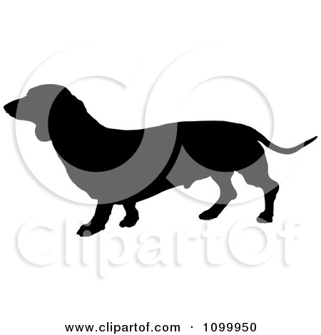 Clipart Black Silhouette Of A Daschund Dog Profile - Royalty Free Vector Illustration by Maria Bell