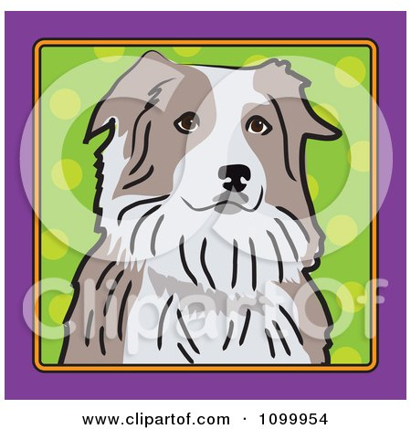 Clipart Folk Art Styled Australian Shepherd Dog Looking Out Through A Purple Frame With A Green Dot Background - Royalty Free Vector Illustration by Maria Bell