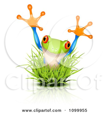 Clipart Surprise Frog Jumping Through Grass - Royalty Free Vector Illustration by Oligo