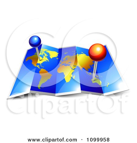 Clipart 3d Foldable Blue And Gold Atlas World Map With Pins - Royalty Free Vector Illustration by Oligo