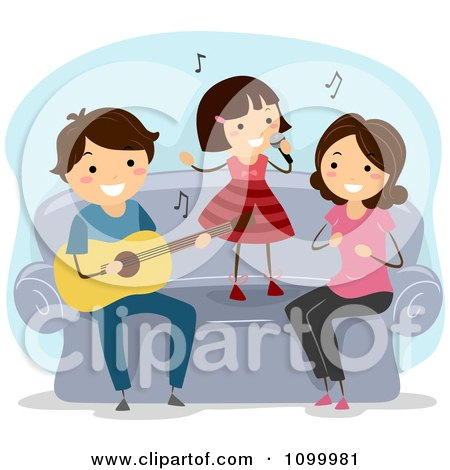 Clipart Happy Musical Family Singing And Playing A Guitar On Their Couch - Royalty Free Vector Illustration by BNP Design Studio