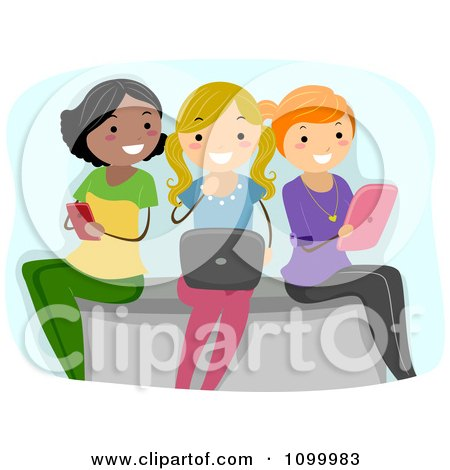 Clipart Three Young Ladies Using A Cell Phone Laptop And Tablet - Royalty Free Vector Illustration by BNP Design Studio