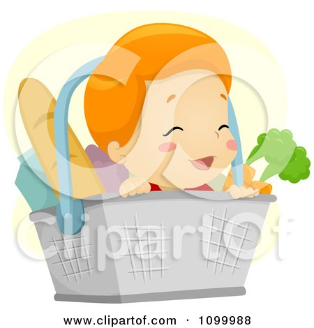 Clipart Happy Baby In A Grocery Basket With Healthy Foods - Royalty Free Vector Illustration by BNP Design Studio