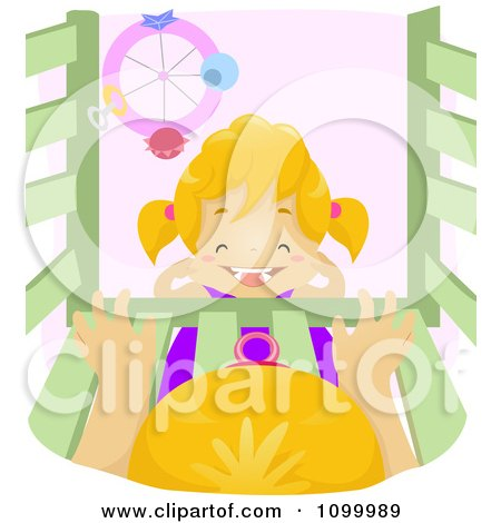 Clipart Happy Girl Laughing In Front Of A Baby In A Crib, Over Pink - Royalty Free Vector Illustration by BNP Design Studio