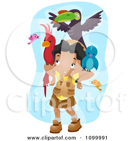 Clipart Happy Black Girl With A Lot Of Birds On Her Arms And Head - Royalty Free Vector Illustration by BNP Design Studio