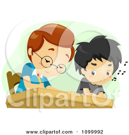 Clipart School Boy Cheating By Looking At His Classmates Work - Royalty Free Vector Illustration by BNP Design Studio