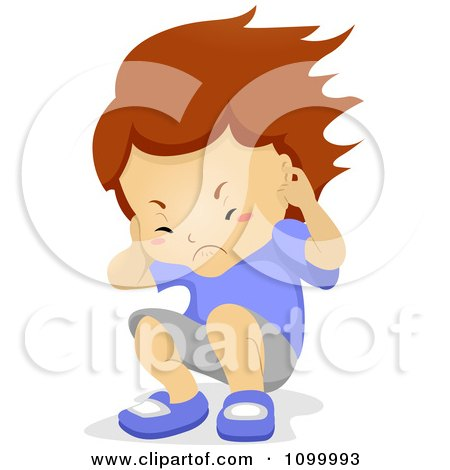 Clipart  Boy Plugging His Ears And Being Hit With Noise - Royalty Free Vector Illustration by BNP Design Studio