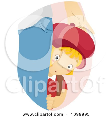 Clipart Shy School Boy Hiding Behind His Mothers Leg - Royalty Free Vector Illustration by BNP Design Studio