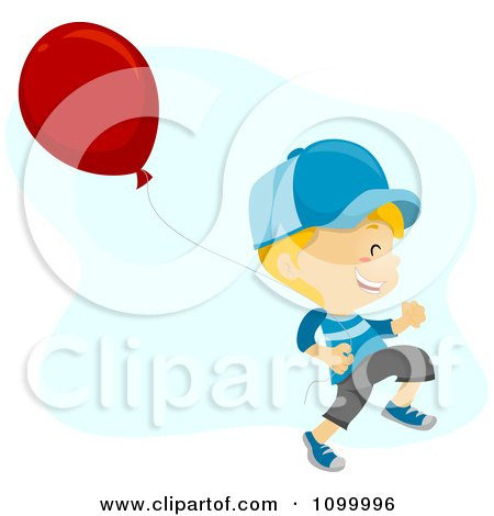 Clipart Happy Boy Running With A Balloon - Royalty Free Vector Illustration by BNP Design Studio