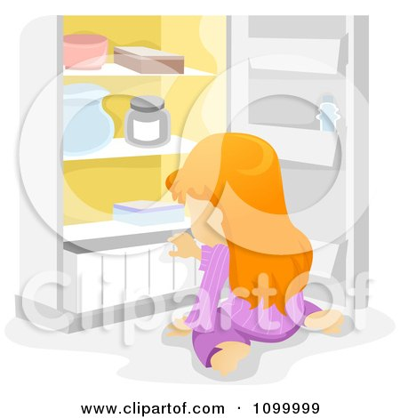 Clipart Hungry Girl Sitting In Front Of An Open Refrigerator - Royalty Free Vector Illustration by BNP Design Studio