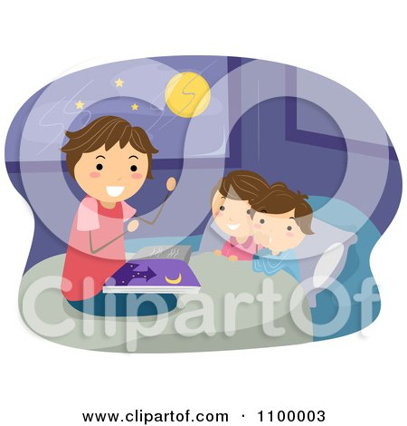 Clipart Happy Father Reading His Children A Bed Time Story - Royalty Free Vector Illustration by BNP Design Studio