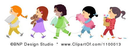 Clipart Line Of Diverse Girls Going To Slumber Party Royalty Free Vector Illustration Pyjama Comic
