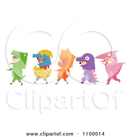 Clipart Line Of Diverse Children In Dinosaur Costumes - Royalty Free Vector Illustration by BNP Design Studio