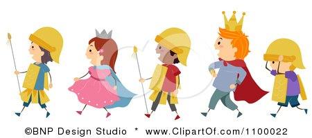 Clipart Line Of Diverse Royal Parade Children - Royalty Free Vector Illustration by BNP Design Studio
