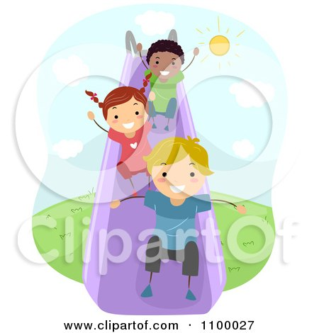 Clipart Happy Diverse Children Going Down A Slide - Royalty Free Vector Illustration by BNP Design Studio