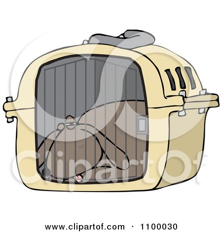 Clipart Tired Dog Drugged Up In A Pet Carrier - Royalty Free Vector Illustration by djart