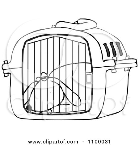 Clipart Outlined Tired Dog Drugged Up In A Pet Carrier - Royalty Free Vector Illustration by djart