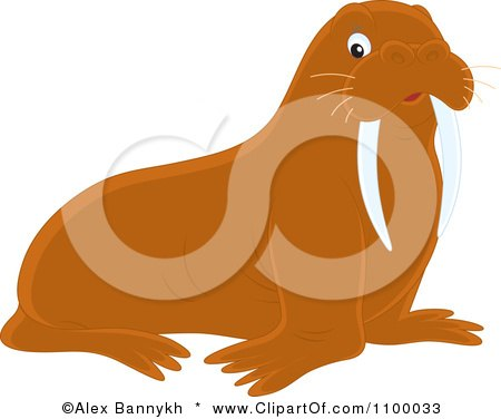 Clipart Cute Brown Walrus - Royalty Free Vector Illustration by Alex Bannykh