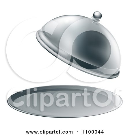 Clipart 3d Fancy Silver Cloche Fine Dining Platter With An Open Lid - Royalty Free Vector Illustration by AtStockIllustration