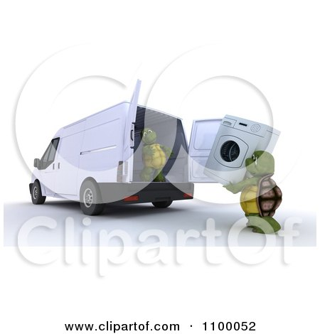 Clipart 3d Tortoises Loading A Washing Machine Into An Appliance Delivery Van - Royalty Free CGI Illustration by KJ Pargeter