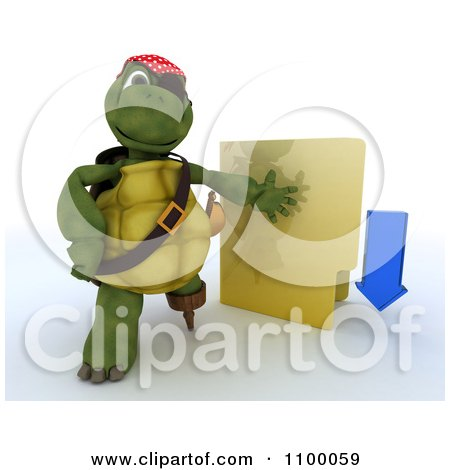 Clipart 3d Illegal Download Tortoise Pirate With A Folder - Royalty Free CGI Illustration by KJ Pargeter