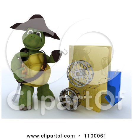Clipart 3d Illegal Movie Download Tortoise Pirate With A Folder And Film Reels - Royalty Free CGI Illustration by KJ Pargeter