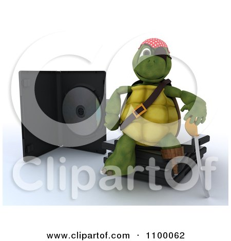 Clipart 3d Movie Or Software Tortoise Pirate With Illegal Bootleg Packaging - Royalty Free CGI Illustration by KJ Pargeter