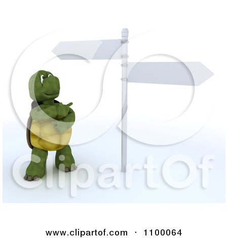 Clipart 3d Tortoise Standing By And Pointing At Street Signs - Royalty Free CGI Illustration by KJ Pargeter