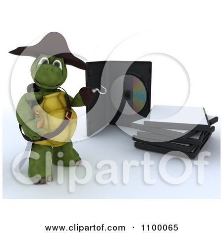 Clipart 3d Movie Or Software Tortoise Pirate Presenting Illegal Bootleg Packaging - Royalty Free CGI Illustration by KJ Pargeter
