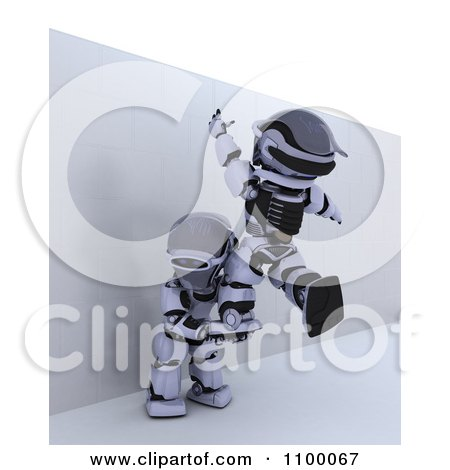 Clipart 3d Helping Another Over A Wall To Defeat An Obstacle - Royalty Free CGI Illustration by KJ Pargeter