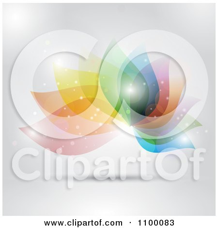 Clipart Abstract Colorful Decorative Floral Design With Flares Of Light On Gray - Royalty Free Vector Illustration by KJ Pargeter