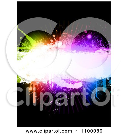 Clipart Background Of Colorful Grunge Splatters And Copyspace On Black - Royalty Free Vector Illustration by KJ Pargeter