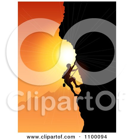 Clipart Silhouetted Rock Mountain Climber Against An Orange Sunset - Royalty Free Vector Illustration by KJ Pargeter