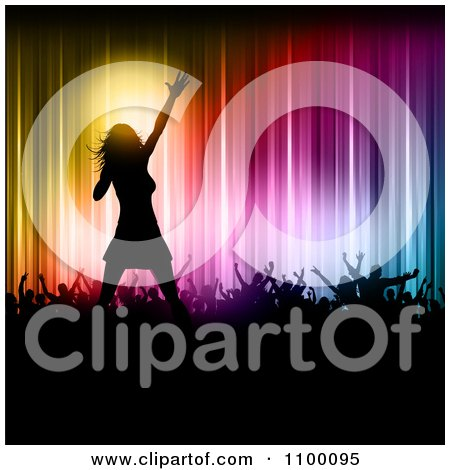 Clipart Silhouetted Female Singer On Stage With Fans Against Colorful Lights - Royalty Free Vector Illustration by KJ Pargeter