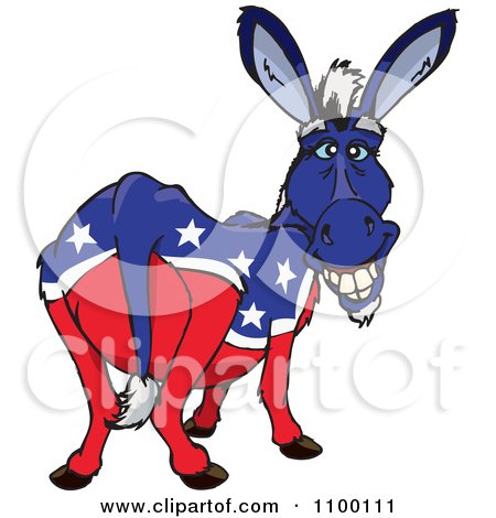 Clipart Grinning Democratic Donkey - Royalty Free Vector Illustration by Dennis Holmes Designs