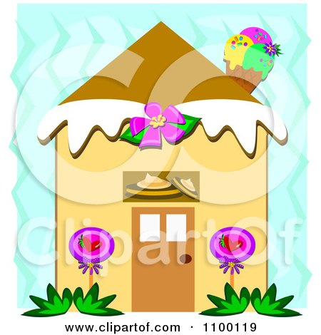 Clipart Candy House With An Ice Cream Cone Chimney Over Blue Zig Zags - Royalty Free Vector Illustration by bpearth